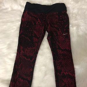 Red and black nike leggings